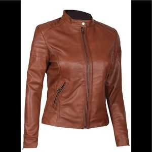 👻 Real leather brown moto jacket new